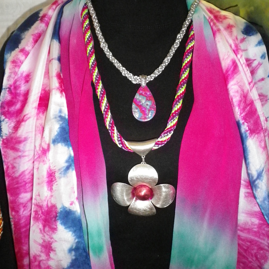 Silk scarves and kumihimo necklaces
